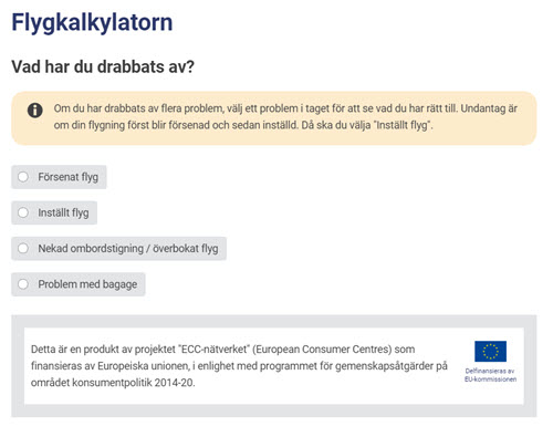flygkalkylator konsument Europa